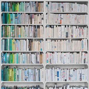 FotoTapete LIBRARY grün-weiss