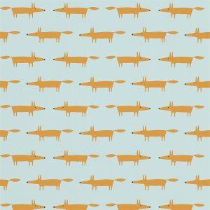 Tapete LITTLE FOX orange-hellblau
