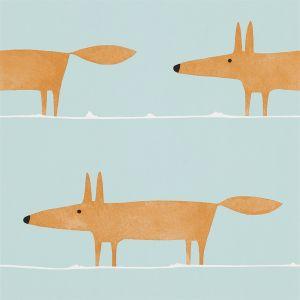 Tapete MR FOX orange-hellblau
