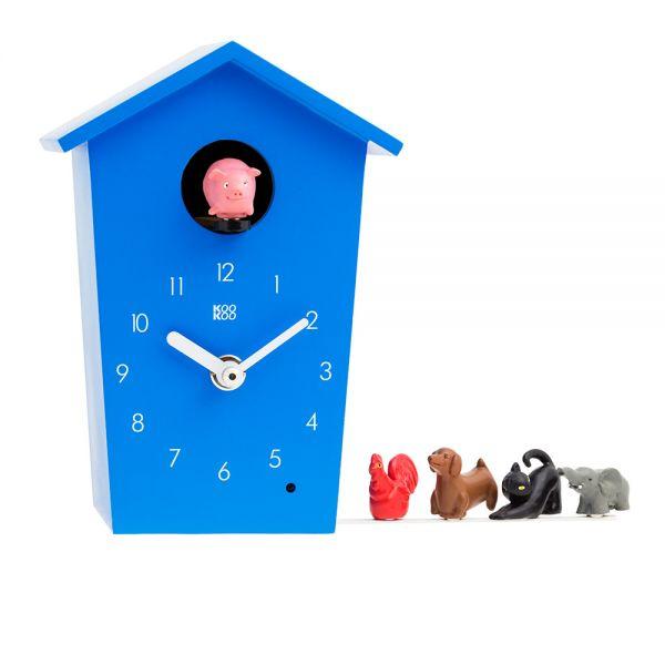 Wand/Tischuhr ANIMAL HOUSE blau