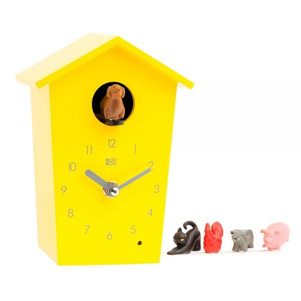 Wand/Tischuhr ANIMAL HOUSE gelb