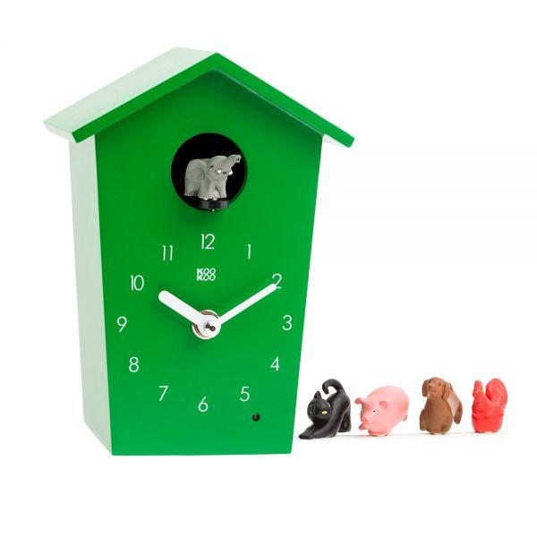 Wand/Tischuhr ANIMAL HOUSE grün