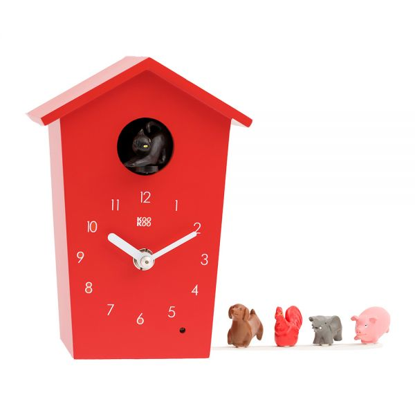 Wand/Tischuhr ANIMAL HOUSE rot